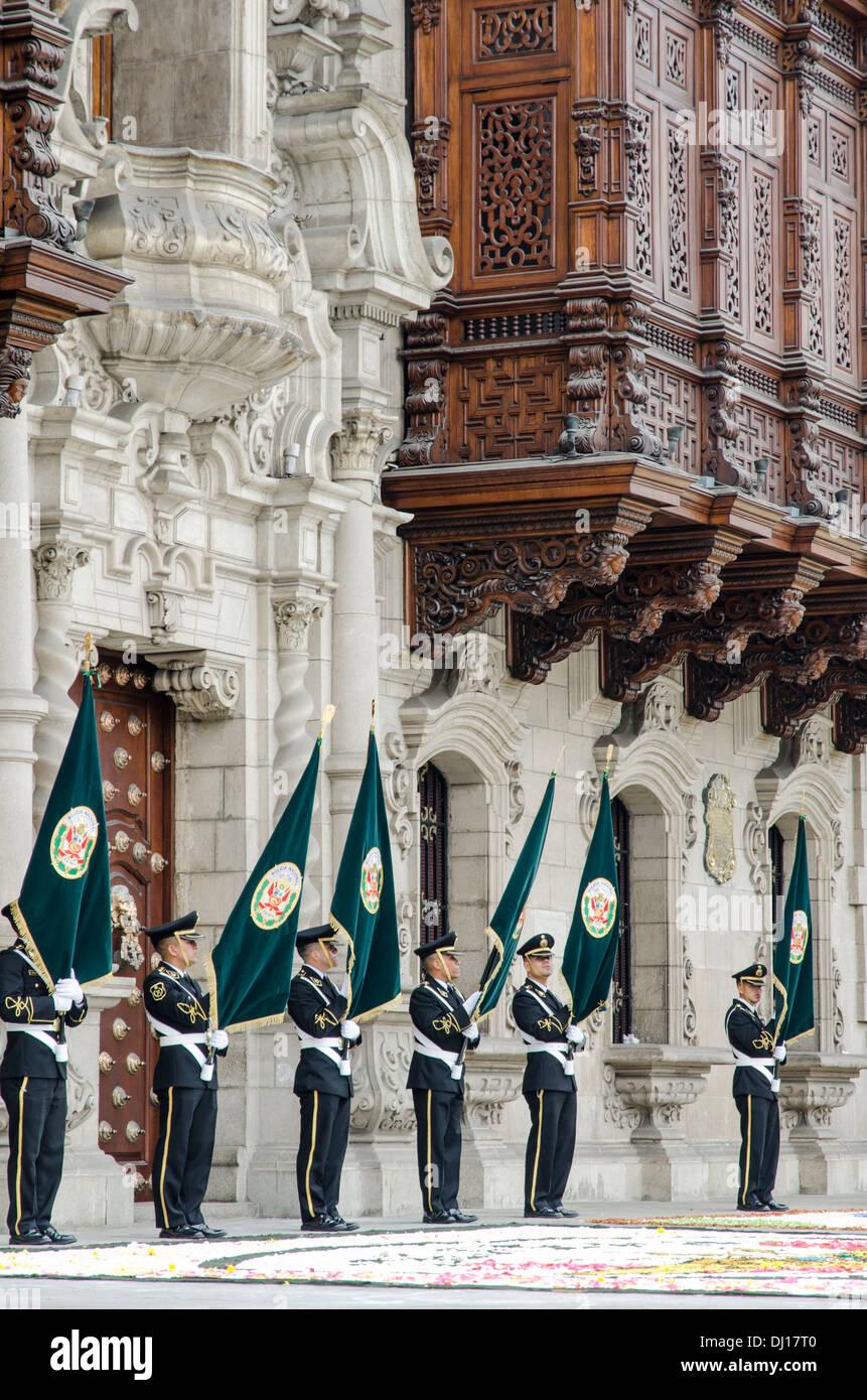 Military parade in the Plaza de Armas in Lima, Peru. Stock Photo
