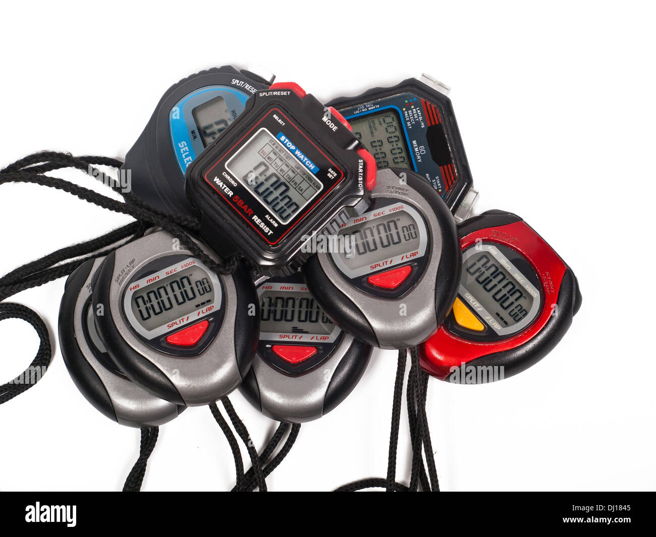 eight digital stop watches altogether - Stock Image