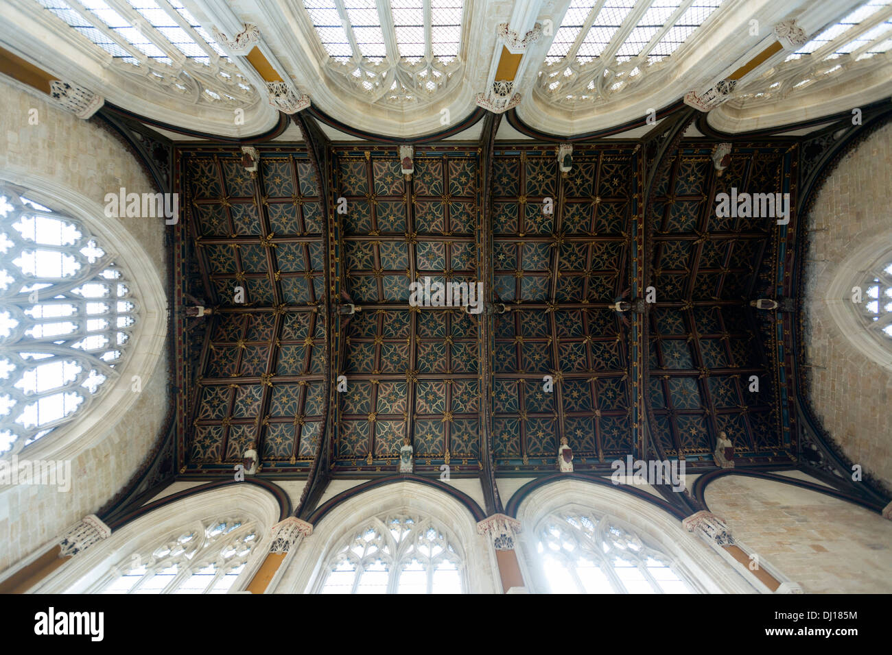 Exeter Cathedral Chapter House roof having fifteenth Century angels - Stock Image