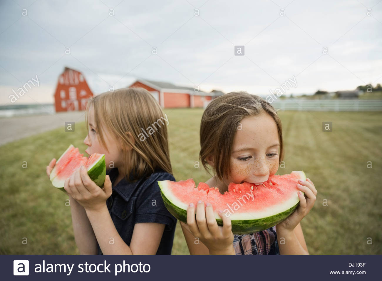 Girls eating watermelon outdoors - Stock Image