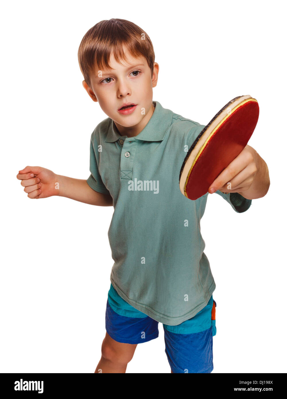 blond ping pong man boy playing table tennis backhand takes topspin isolated on white background - Stock Image