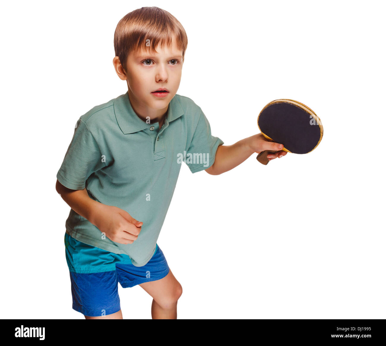 boy blond man playing table tennis forehand takes topspin isolated on white background - Stock Image