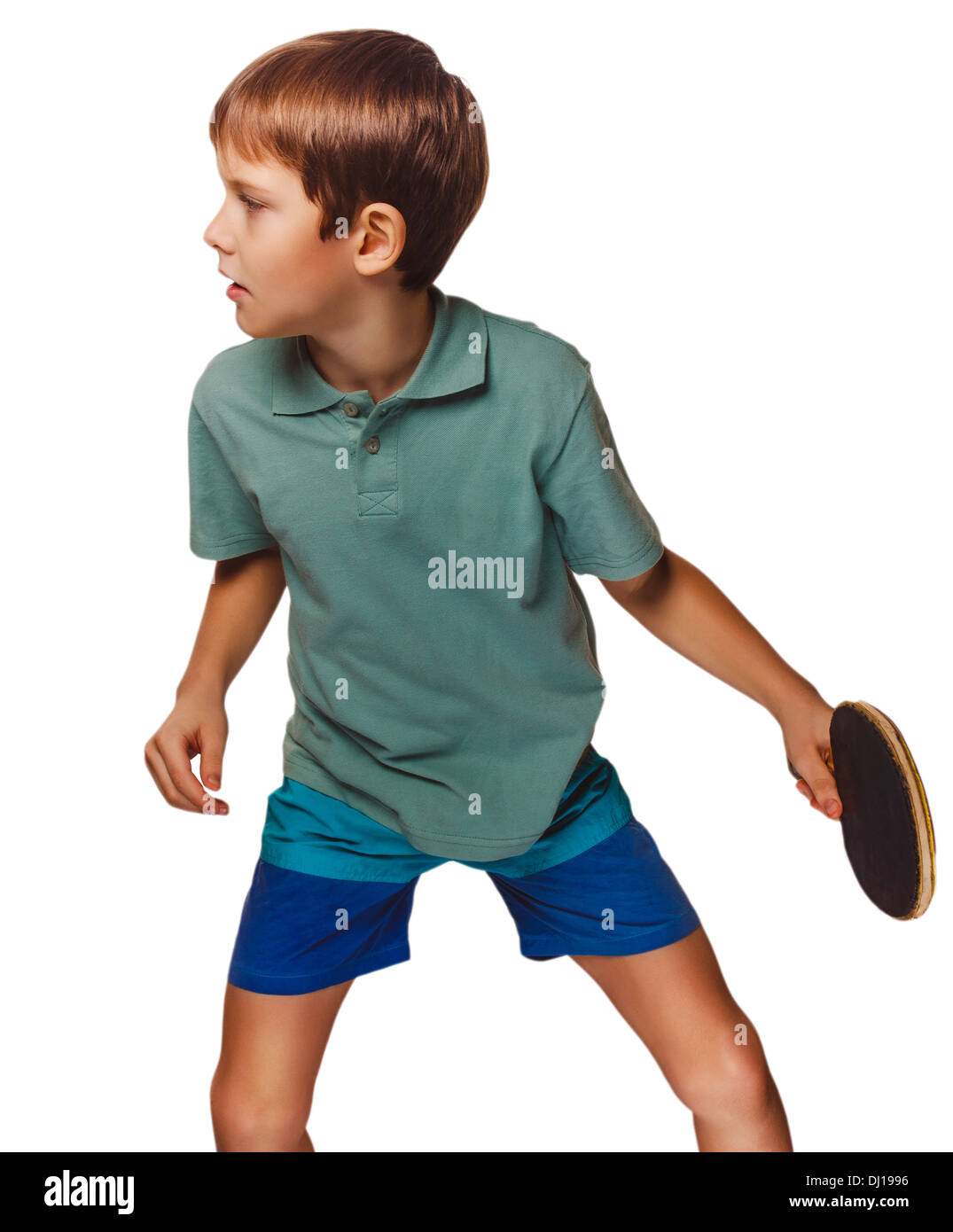 boy blond man table tennis playing ping pong forehand takes topspin isolated on white - Stock Image