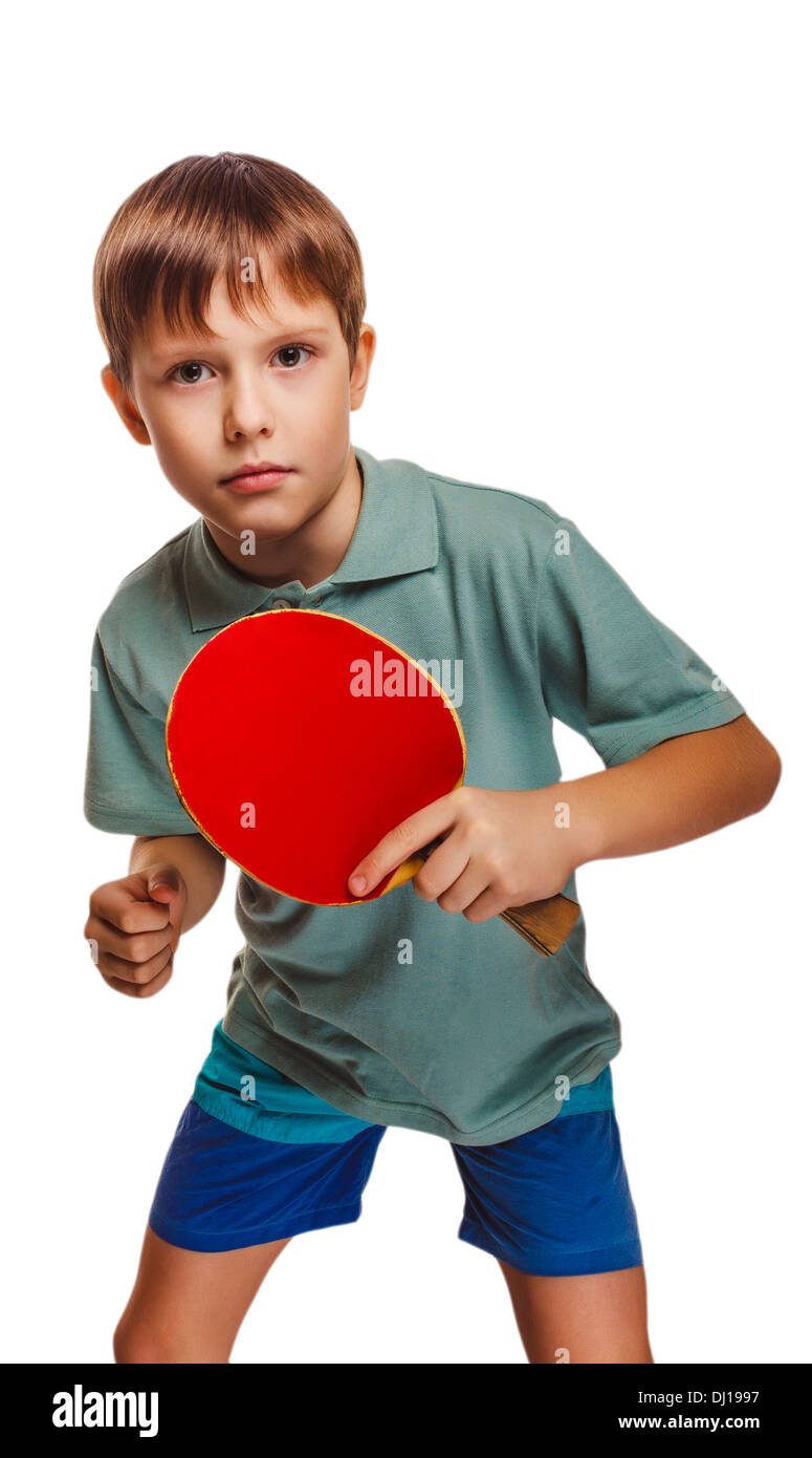 boy blond ping pong man playing table tennis backhand takes topspin isolated on white background - Stock Image
