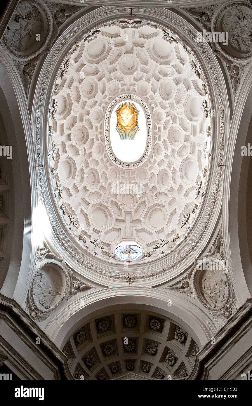 Dome of Church of Saint Charles at the Four Fountains -San Carlino alle quattro fontane in Via del Quirinale, Rome, Italy - Stock Image