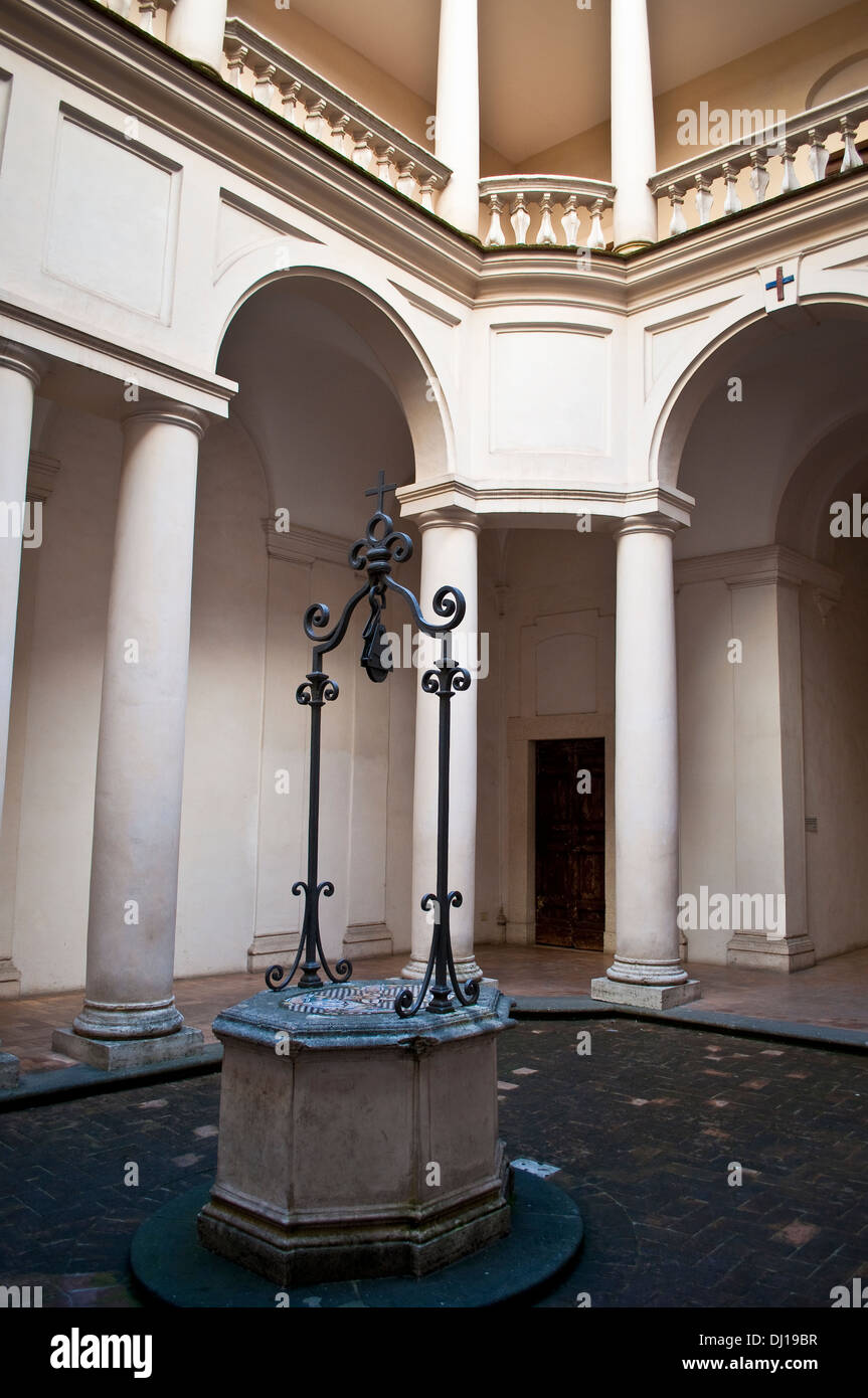 Cloister of Church of Saint Charles at the Four Fountains -San Carlino alle quattro fontane in Via del Quirinale, Rome, Italy - Stock Image