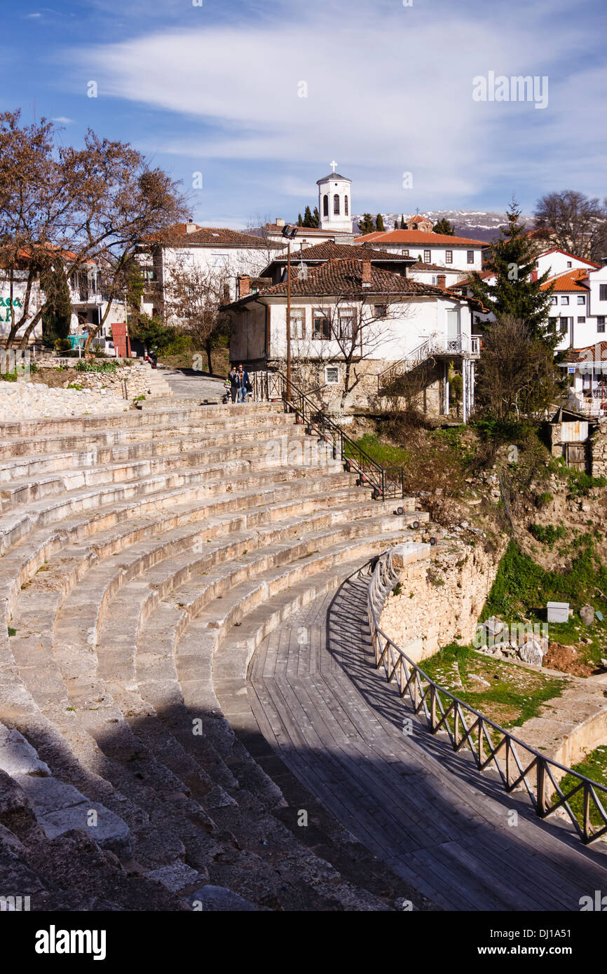 Hellenistic theatre of Ohrid, Macedonia. Built in 200 BC, is the only Hellenistic style theatre in Macedonia - Stock Image