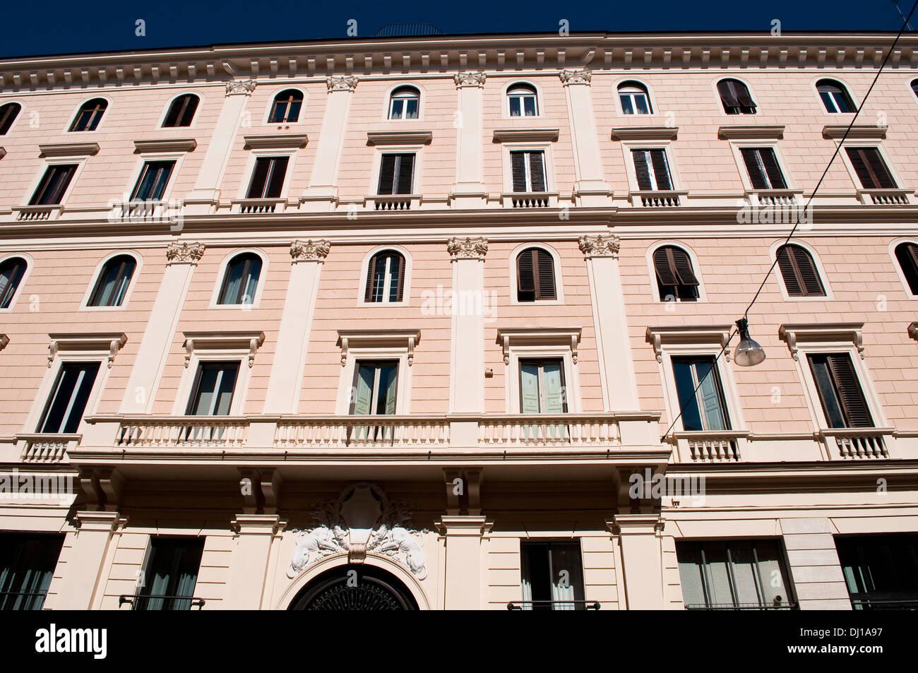 Beautiful facade at Square Largo di Torre Argentina, Campus Martius, Rome, Italy - Stock Image