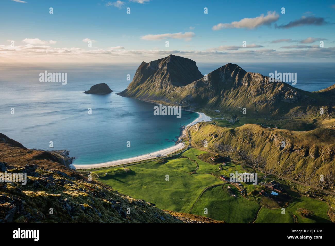 View of Vik and Haukland beaches from summit of Holandsmelen mountain peak, Vestvagoy, Lofoten Islands, Norway Stock Photo