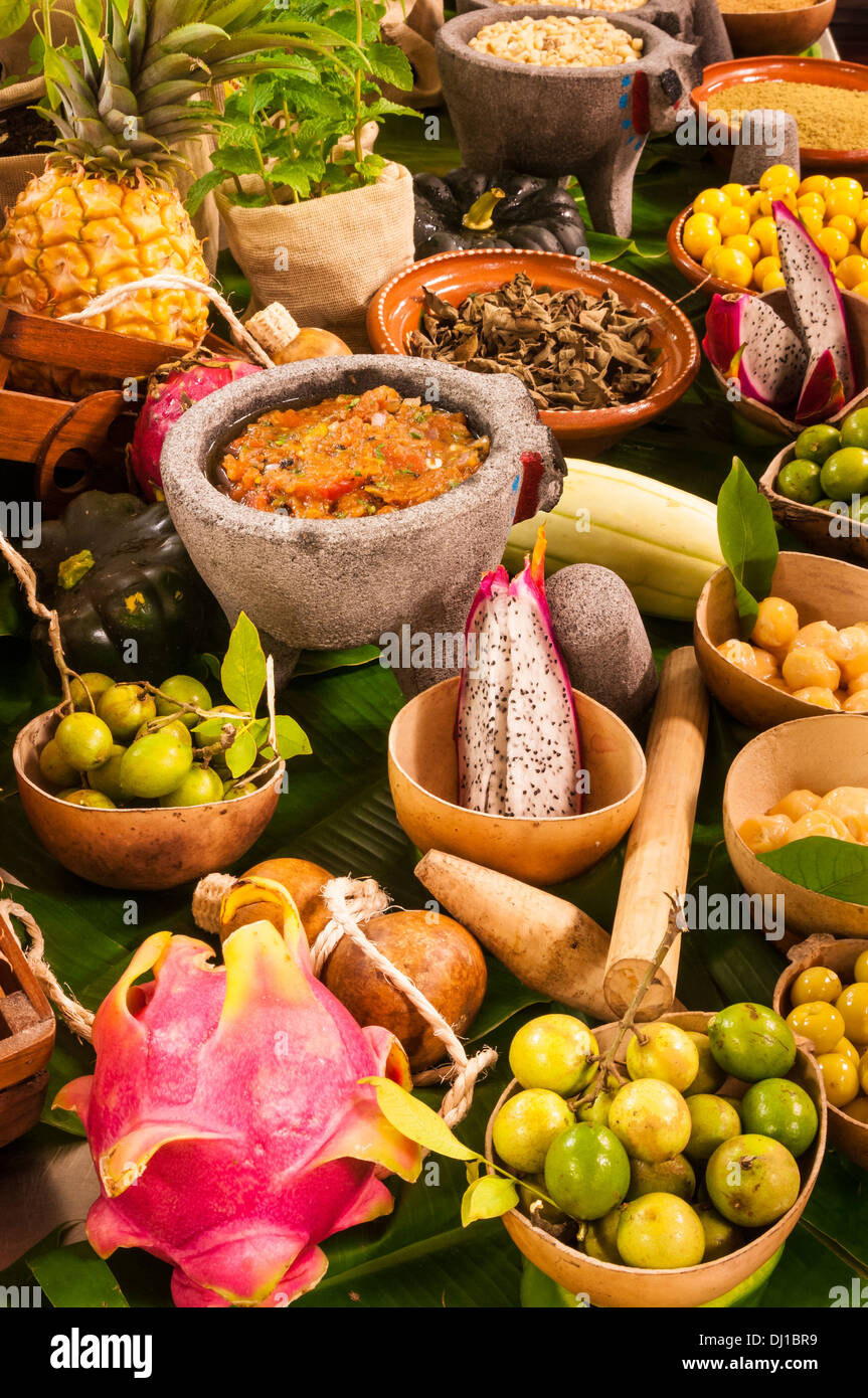 Locally grown and prepared food displayed on a culinary tour in Playa del Carmen, Riviera Maya, Mexico. - Stock Image