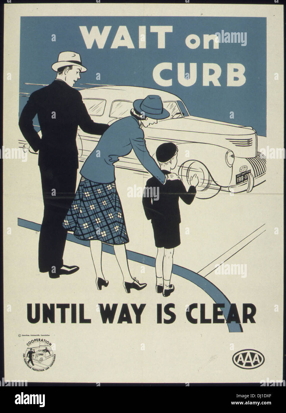 WAIT ON CURB UNTIL WAY IS CLEAR 009 - Stock Image