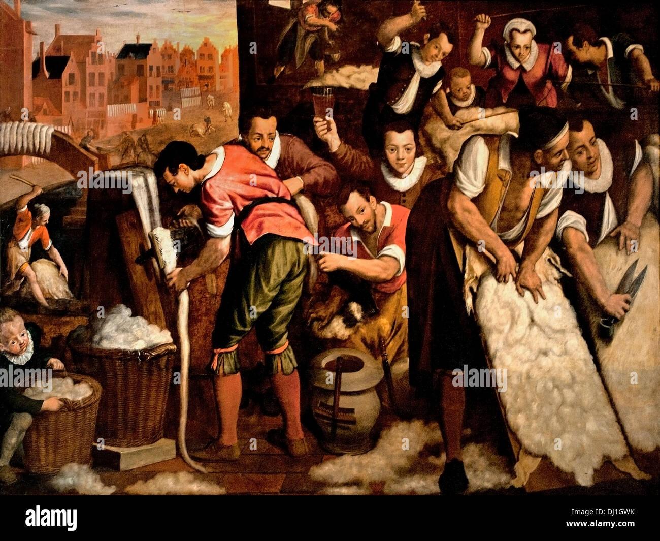 The ploating and combing 1594 Wool Industry Leiden Isaac Claesz van Swanenburg Dutch Netherlands - Stock Image