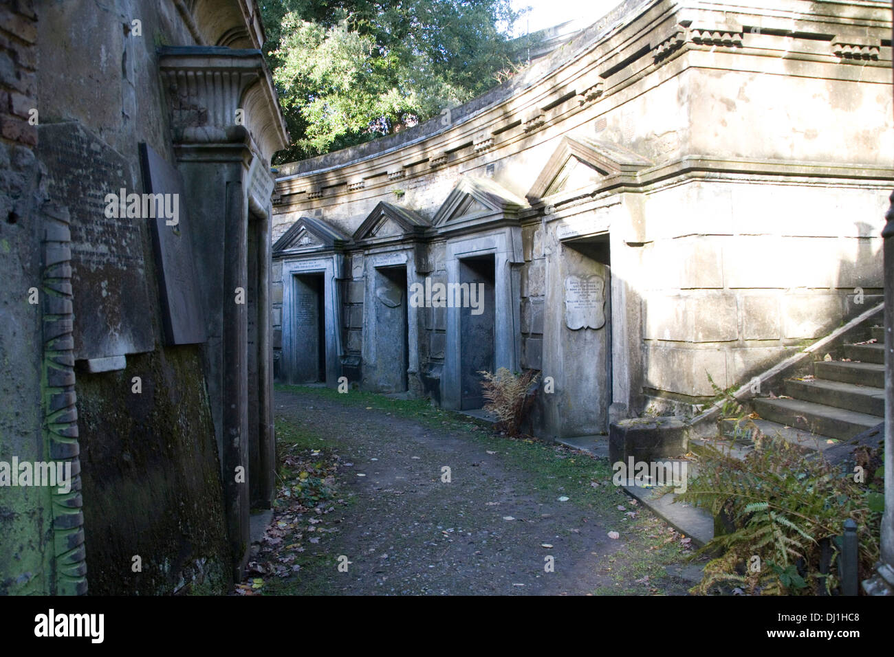Catacombs at Highgate cemetery Stock Photo