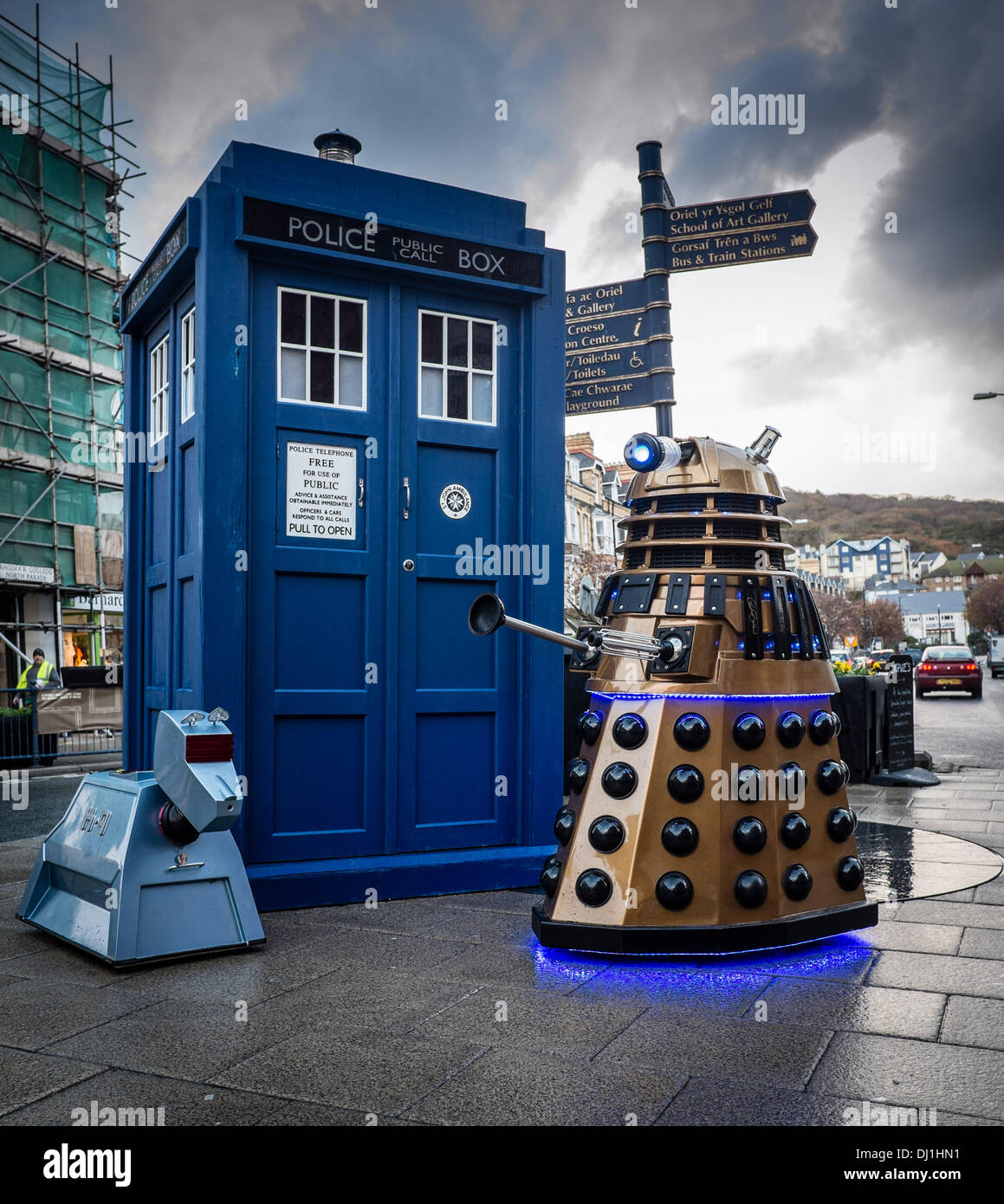 Aberystwyth Wales UK. Tuesday 19 November 2013   As part of the Dr Who 50th anniversary celebrations, the TARDIS is on a surprise tour of welsh towns and cities. Stopping in Aberystwyth the iconic police box was joined by a DALEK and K-9 fellow stars of the long running cult BBC television programme  phot Credit:  keith morris/Alamy Live News - Stock Image
