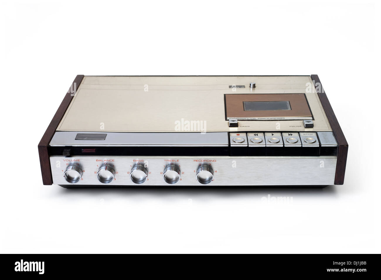 Retro audio cassette tape player recorder isolated on white. - Stock Image