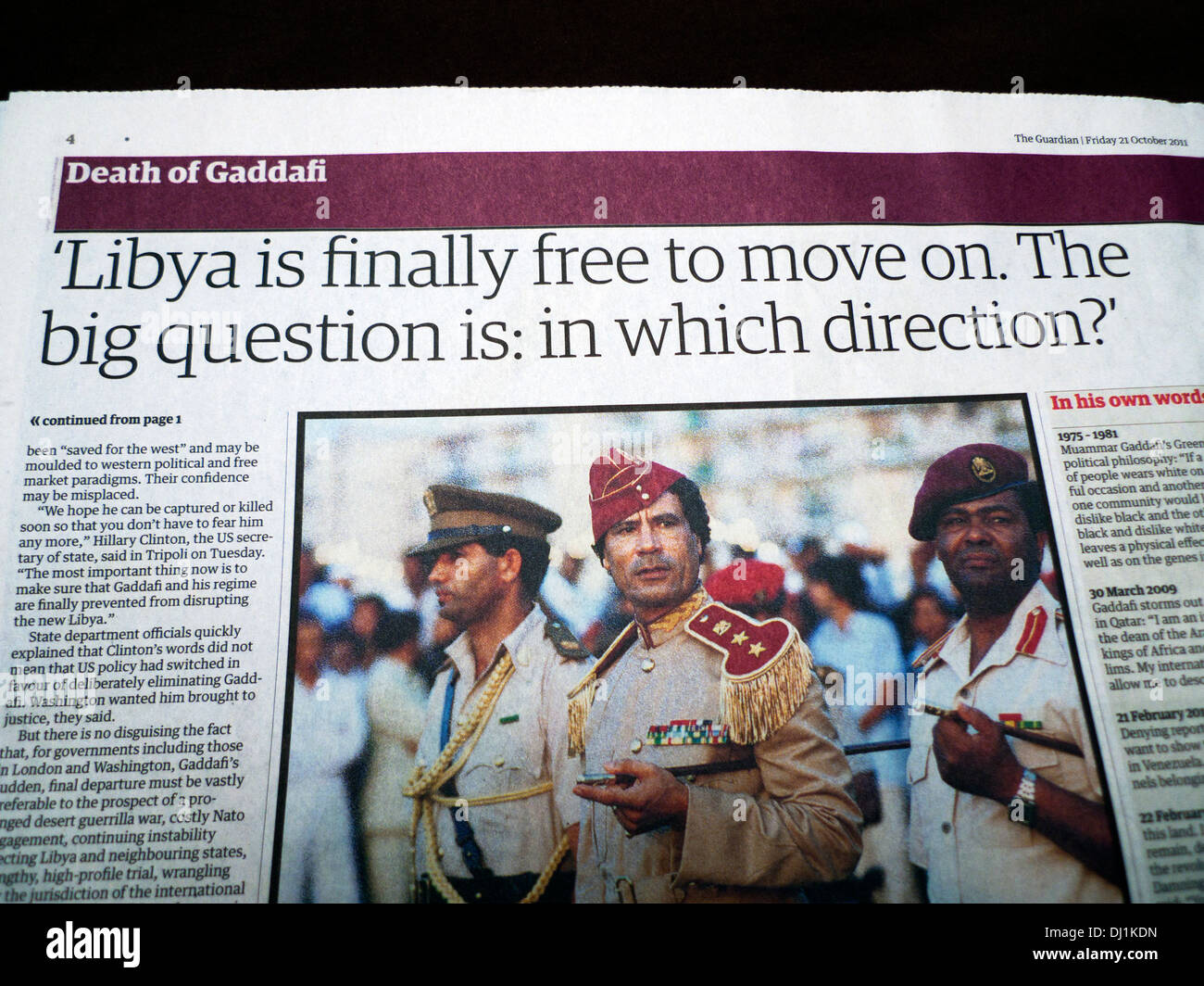 'Libya is finally free to move on. The big question is: in which direction?' article on the Death of Gaddafi - Stock Image