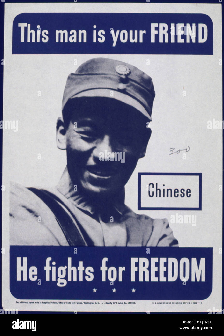 THIS MAN IS YOUR FRIEND. CHINESE. HE FIGHTS FOR FREEDOM 793 - Stock Image