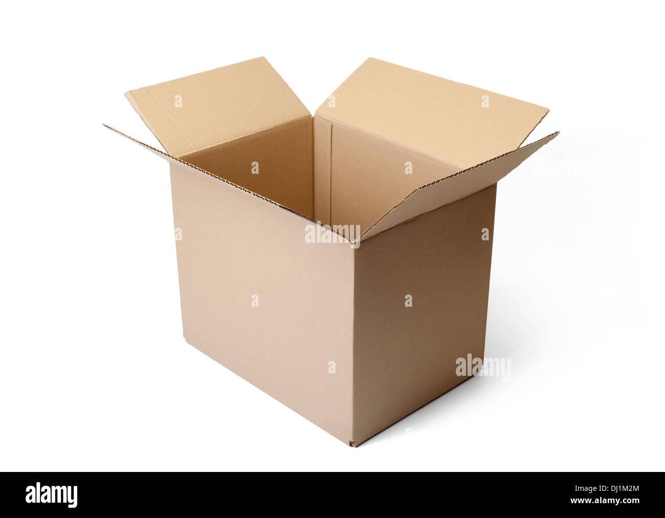Corrugated cardboard box isolated on white background. - Stock Image