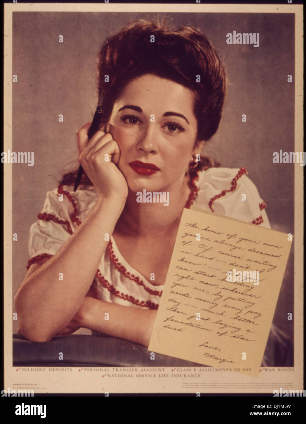 Margie poster no. 1 - Letters to soldiers concerning soldiers' deposits, Personal transfer account, Class E... 987 - Stock Image