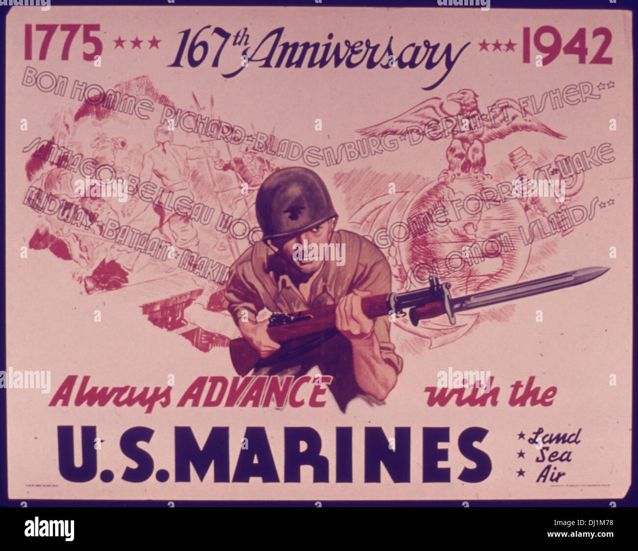 ONE HUNDRED SIXTY SEVEN ANNIVERSARY... ALWAYS ADVANCE WITH THE U.S. MARINES. 124 - Stock Image