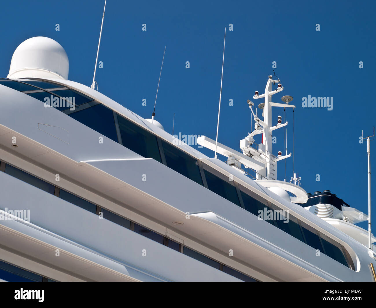 detail of upper deck and main deck on modern yacht - Stock Image