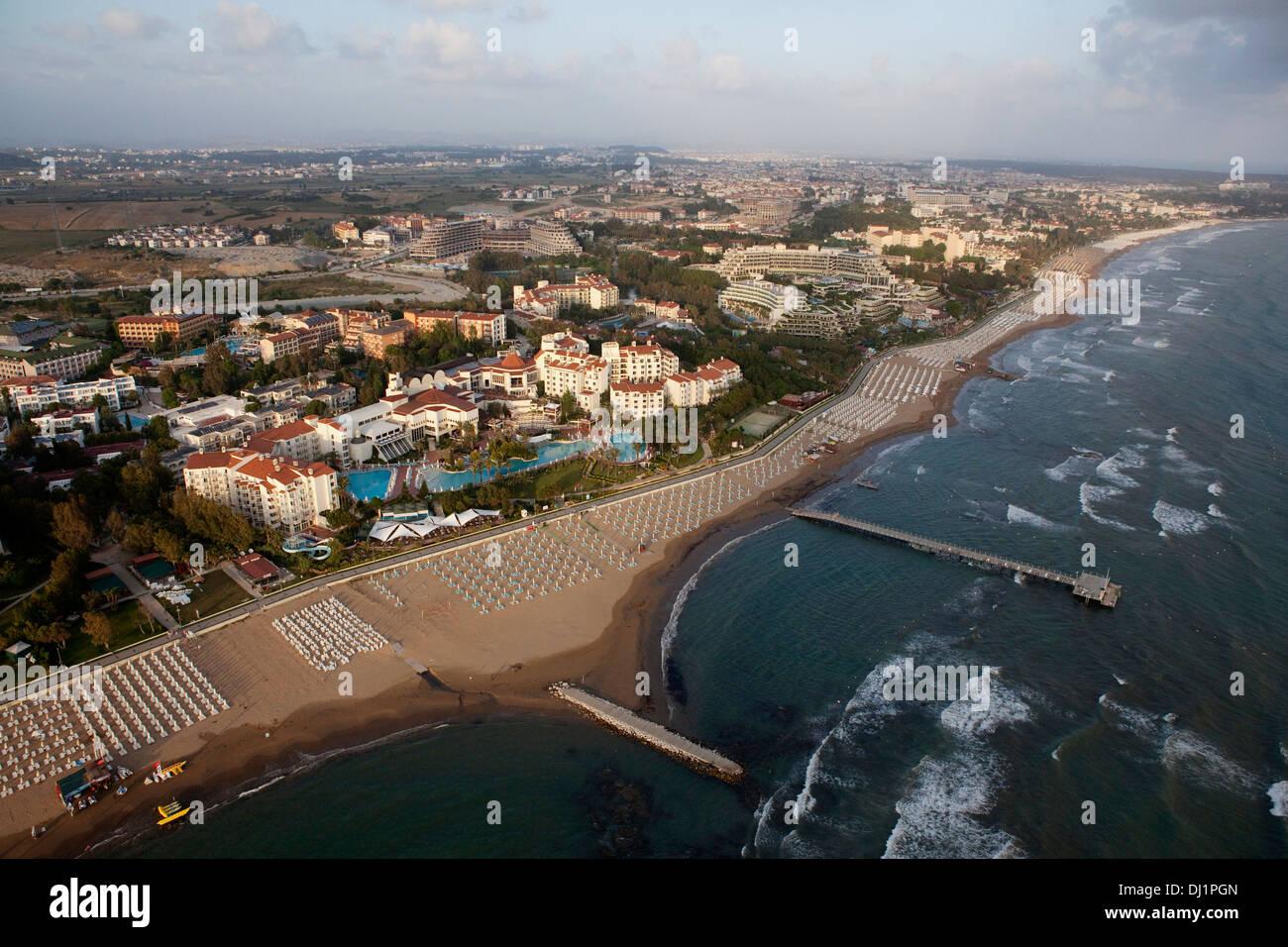 Aerial View Of Side Beach Hotels Antalya Turkey Stock Photo