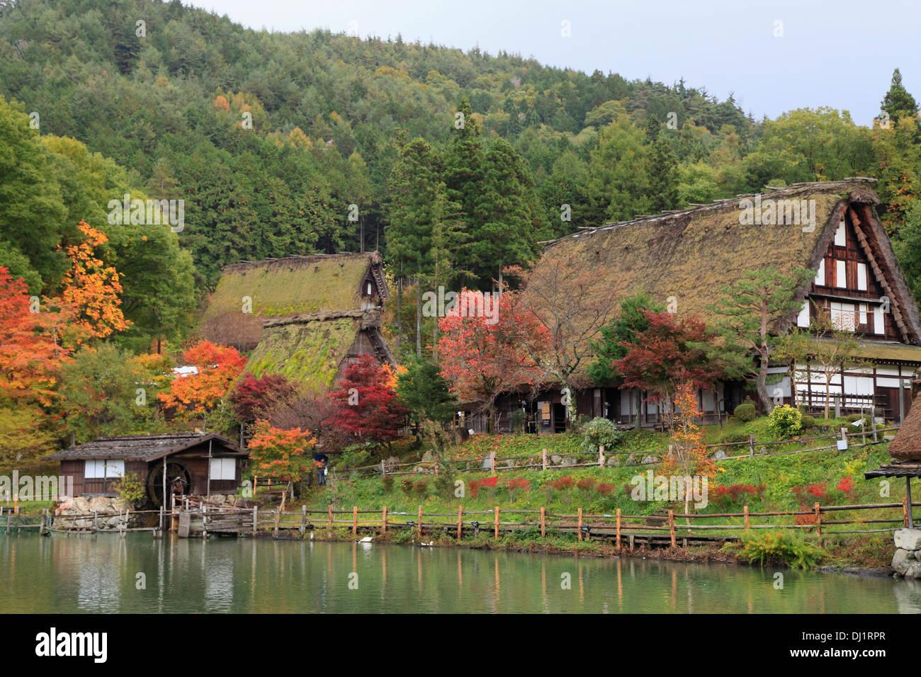 Japan, Hida, Takayama, Hida no Sato, old farmhouses, - Stock Image