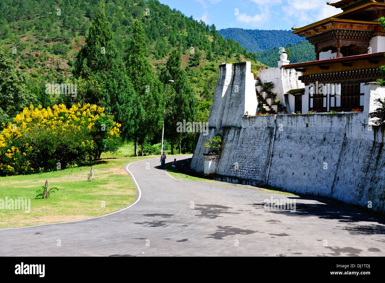 Punakha Dzong,The head of the clergy of Bhutan with his entourage of Buddhist monks spend the winter in this Dzong,Surroundings Stock Photo