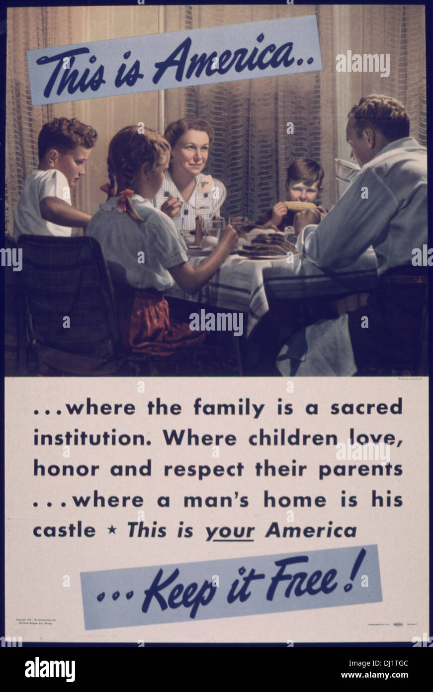 THIS IS AMERICA... WHERE THE FAMILY IS A SACRED INSTITUTION 766 - Stock Image