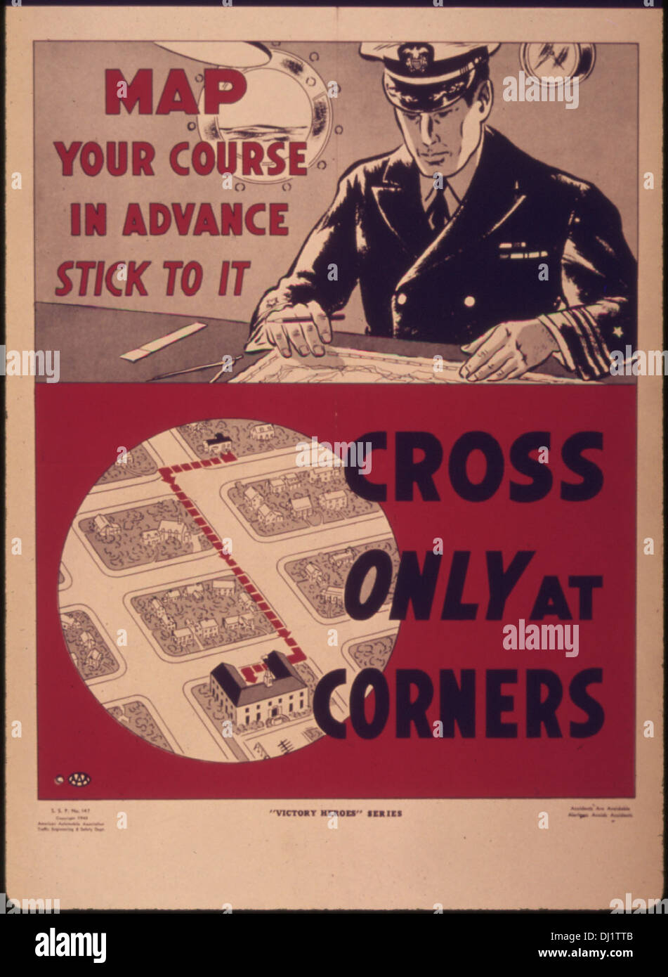 Map your course in advance...stick to it cross only at corners 980 - Stock Image