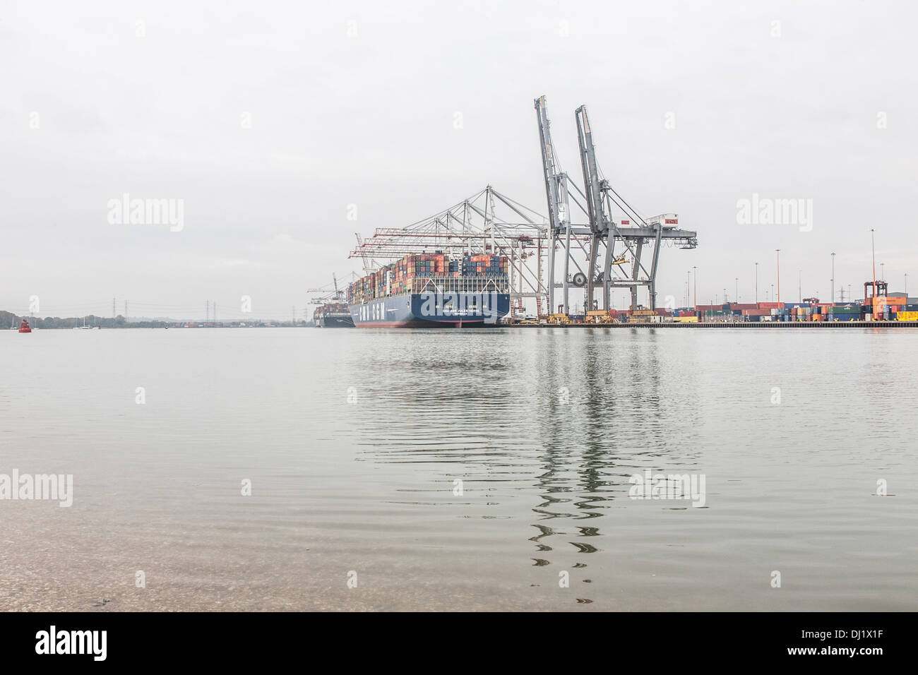 CMA CGM Jules Verne container ship, in port in Southampton, UK - Stock Image