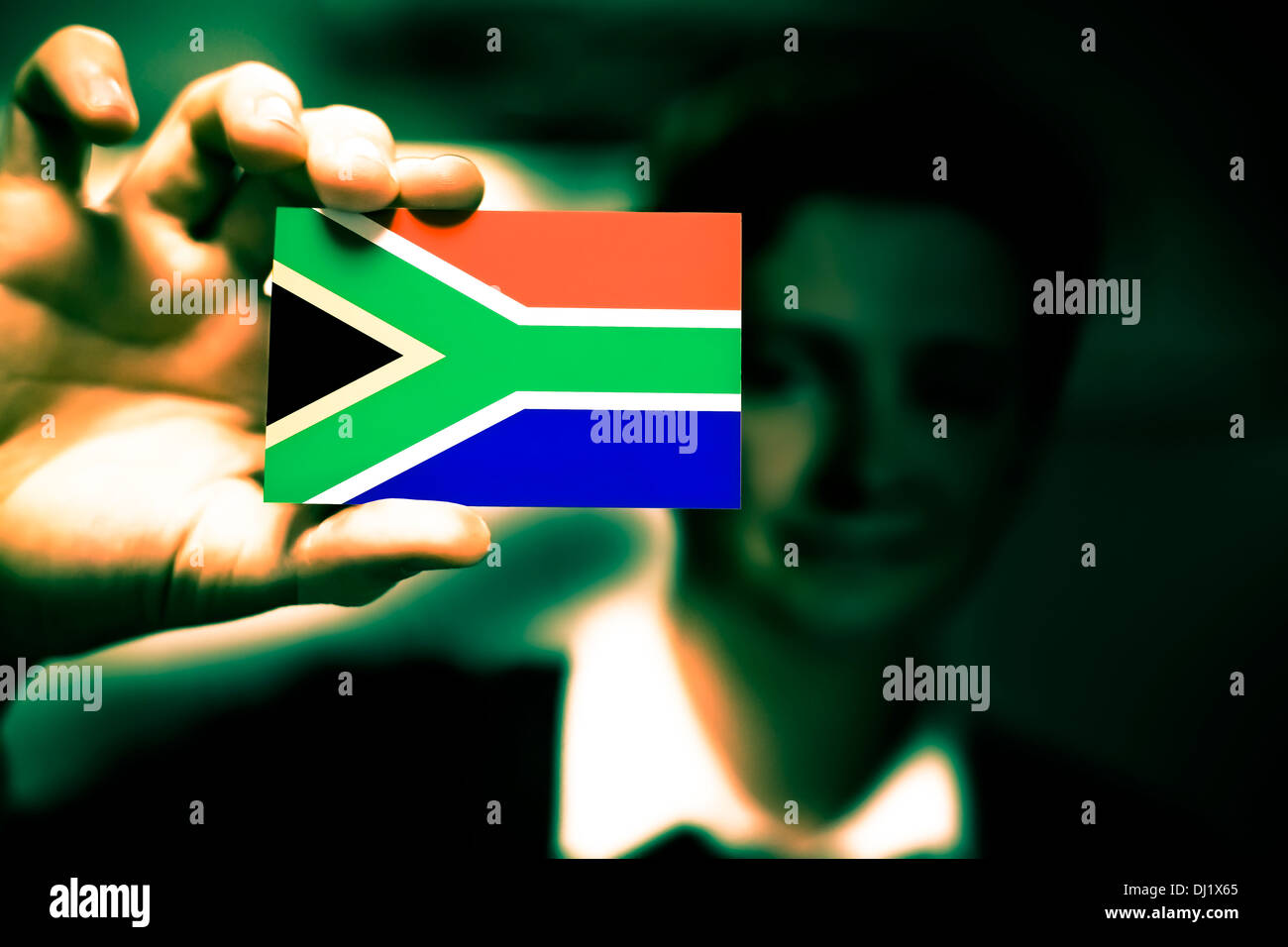 Credit card south africa flag stock photos credit card south businessman is holding a business card flag of south africa stock image reheart Choice Image