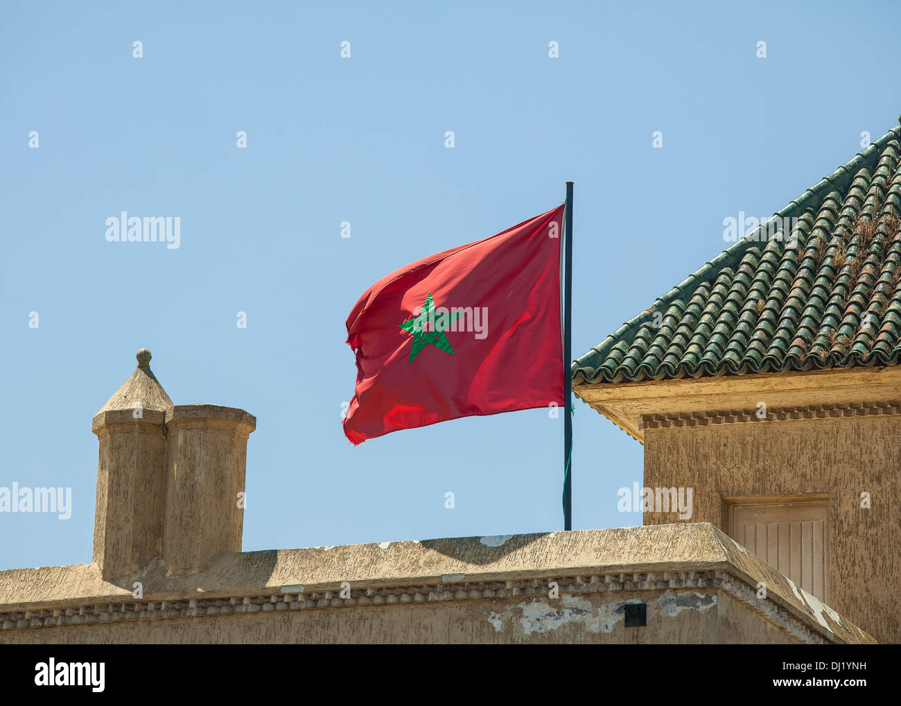 The Moroccan flag. Red with a green pentagram - Stock Image