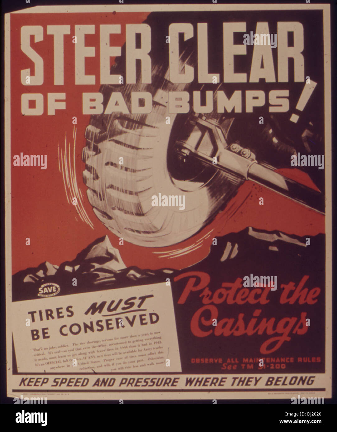 STEER CLEAR OF BAD BUMPS5E PROTECT THE CASINGS 486 - Stock Image