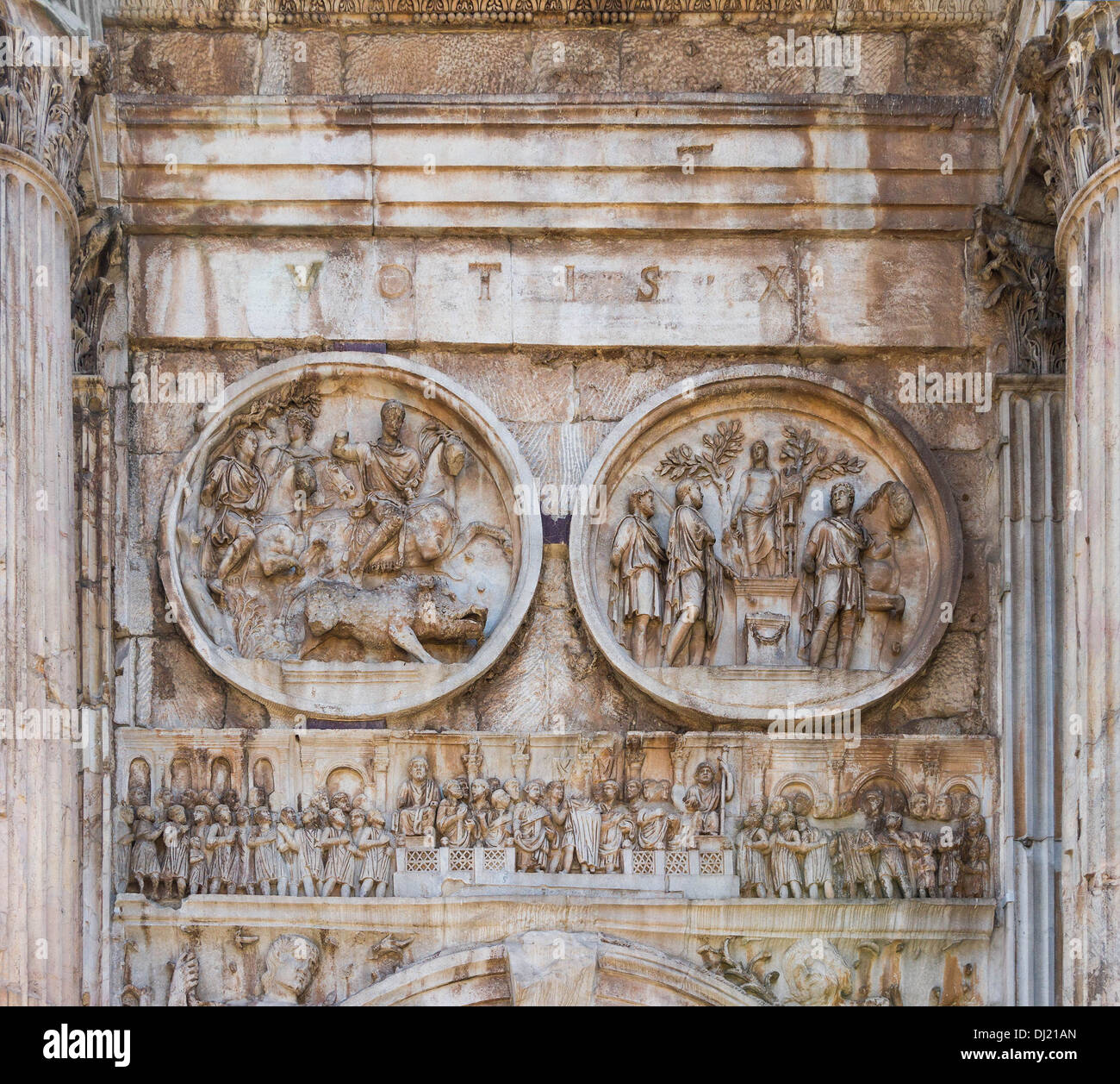 Reliefs of the Arch of Constantine, Rome, Italy. - Stock Image