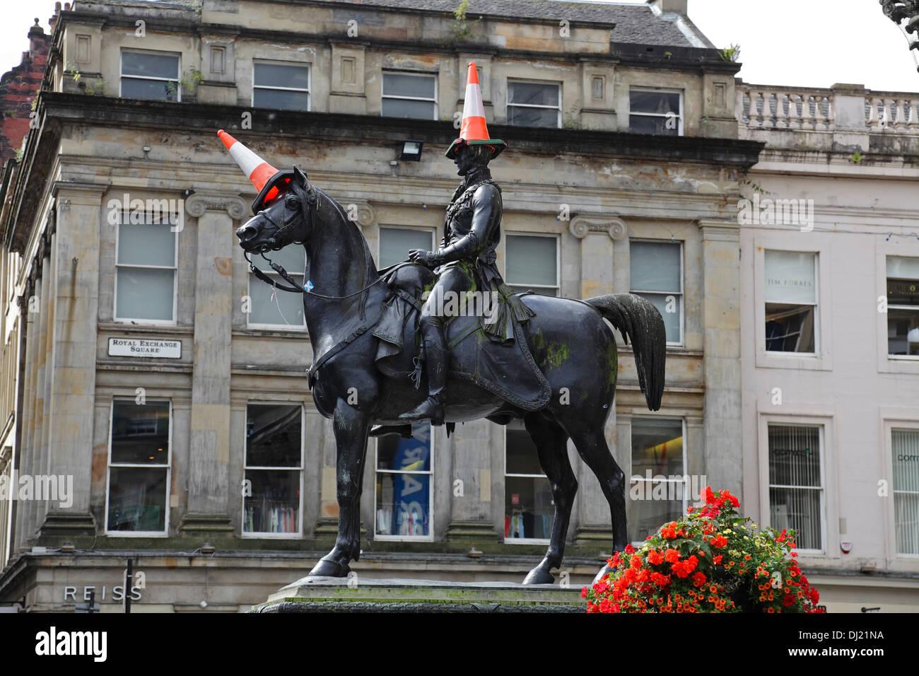 Duke of Wellington statue in Glasgow city centre, Scotland, UK - Stock Image
