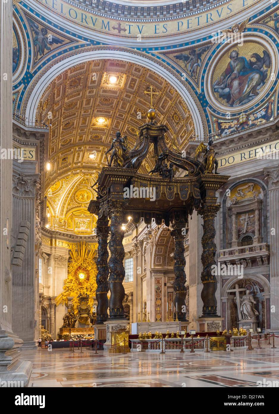 Baldachin by Bernini, altar and absid, Saint Peter's Basilica, Vatican City. - Stock Image