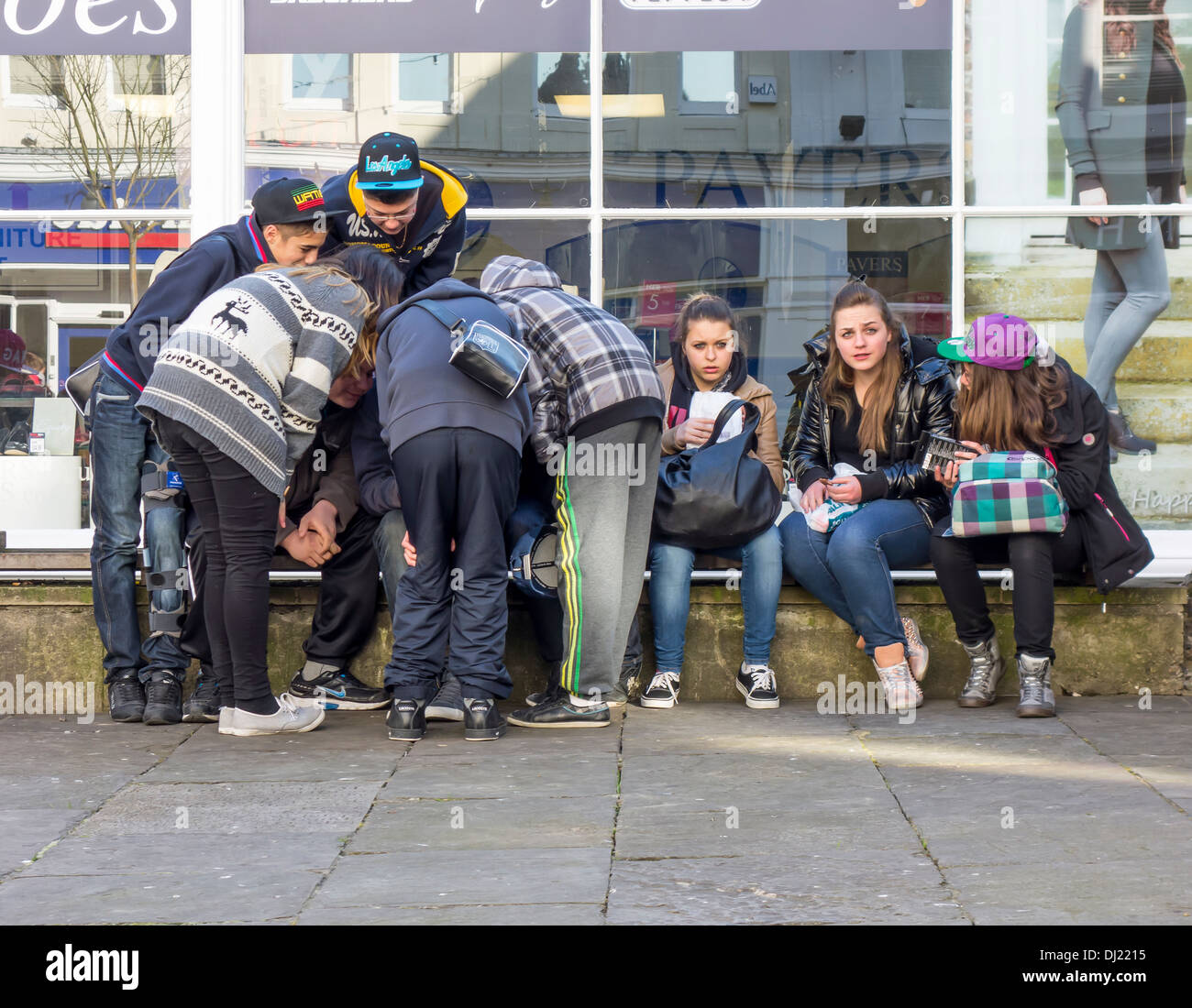 Group Gang Youths Teenagers Teenage Girls Boys - Stock Image