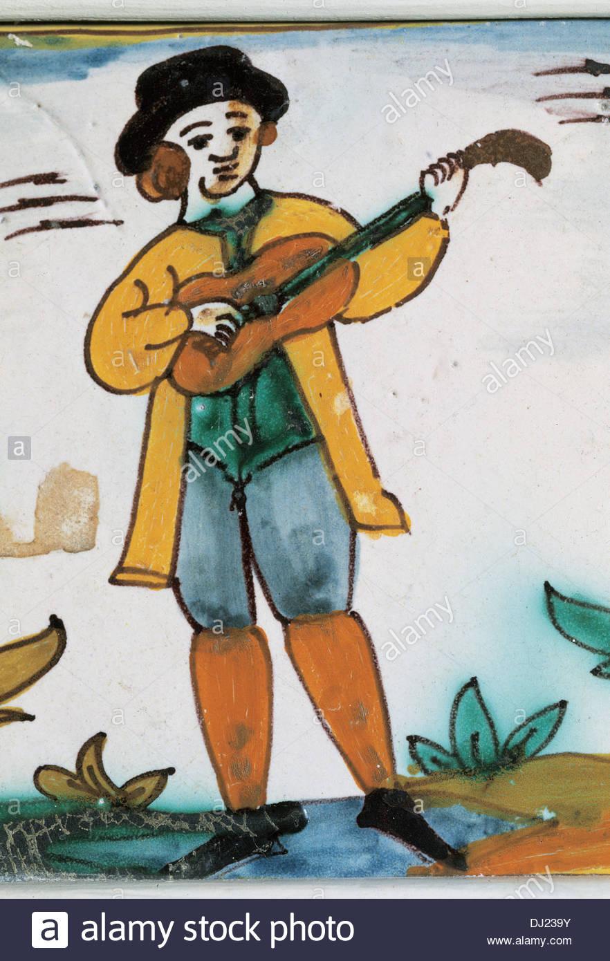 Spain. 18th century. Catalan ceramic. Tiles of trades. Musician ...