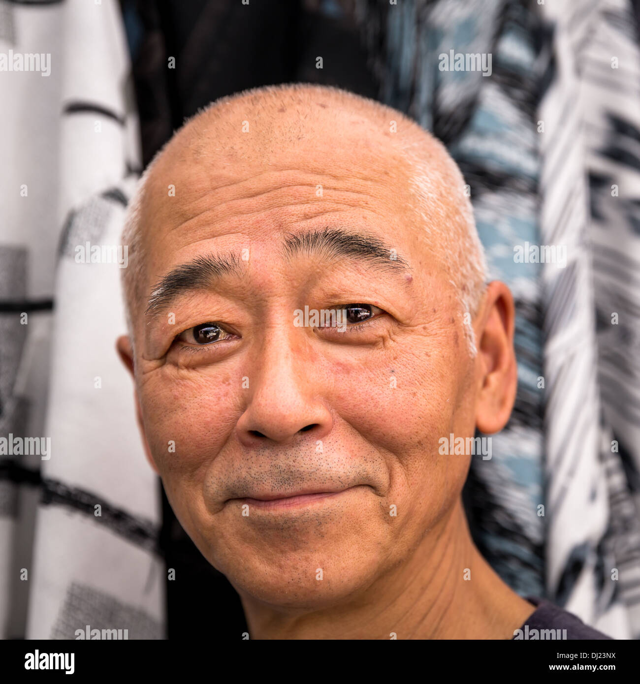 Portrait of a smiling Japanese man, Kyoto, Japan - Stock Image