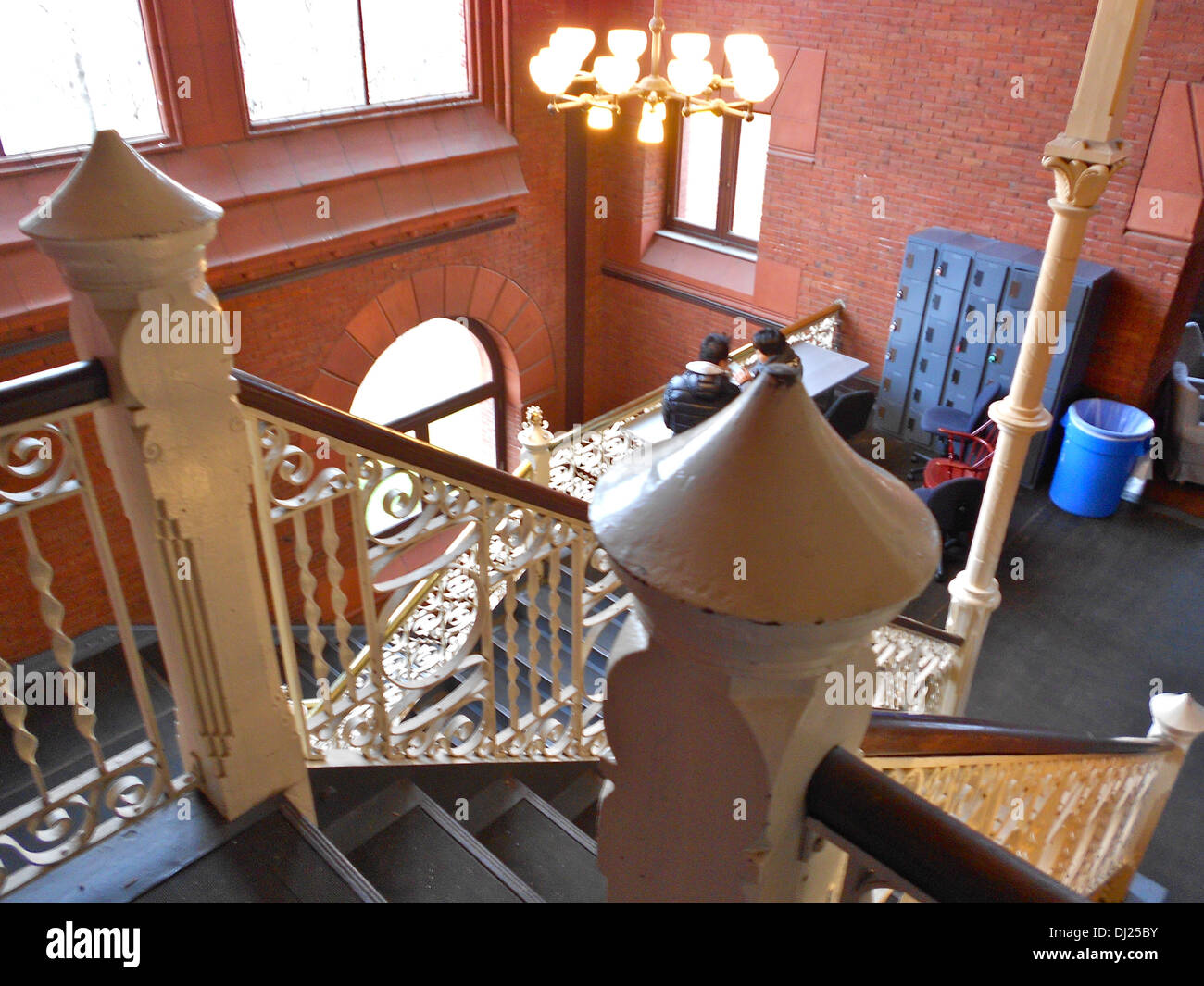 Top of the stairs (don't look down) at Furness Library listed on the NRHP on May 19, 1972. Also listed as aNational Historic Landmark. On 34th Street below Walnut on the University of Pennsylvania campus in West Philadelphia.Frank Furness, architect (1888 - Stock Image