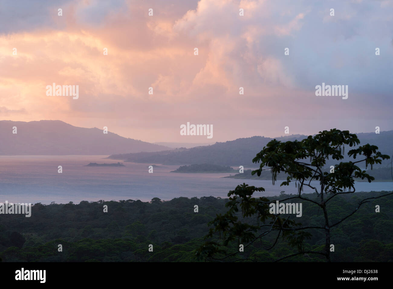 Lake Arenal is an artificial lake in Costa Rica, located in the northern highlands of the country. - Stock Image