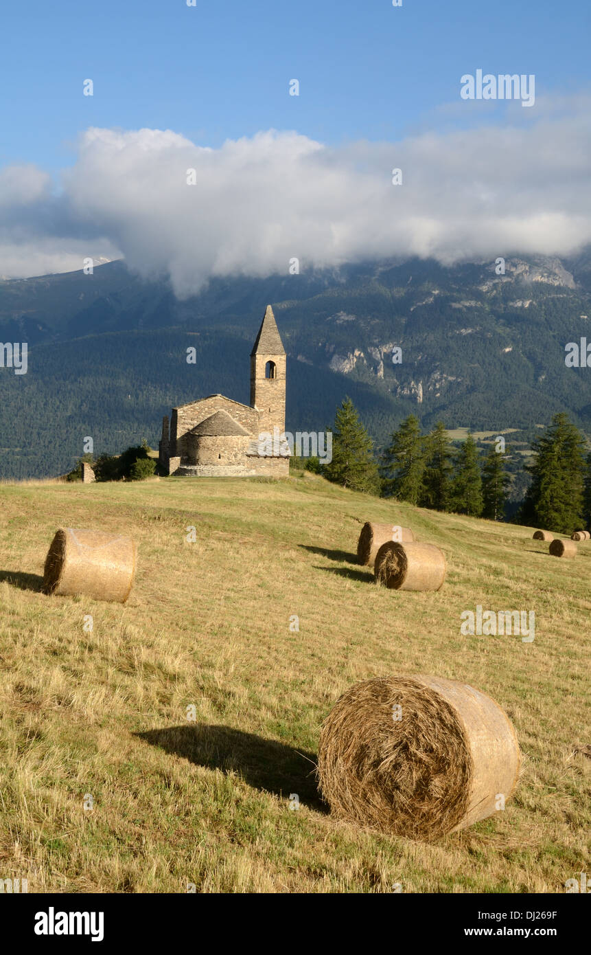 Eglise St-Pierre d'Extravache or Extravache Church Bramans Haute Maurienne Savoie France - Stock Image