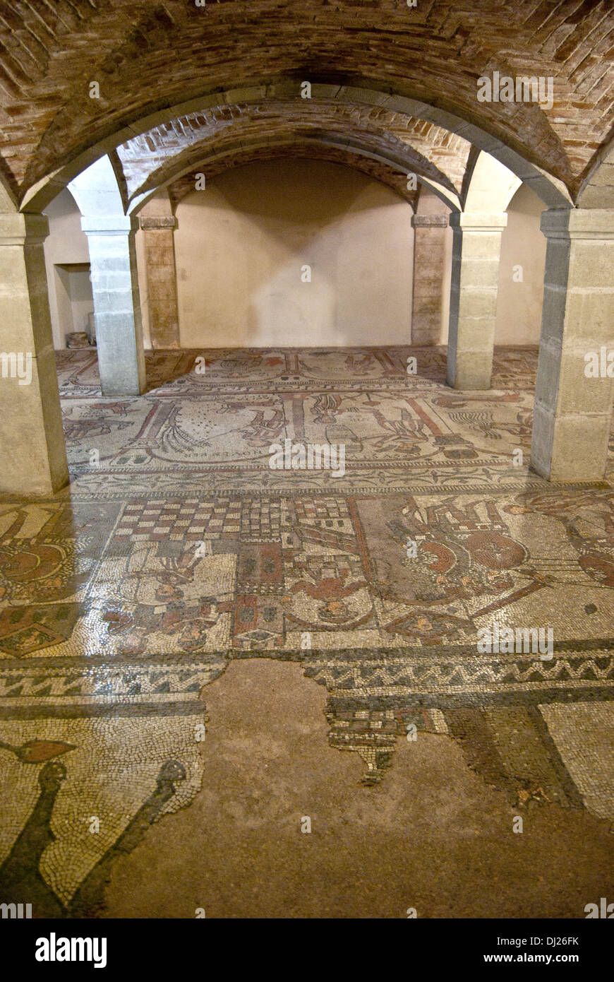 San Colombano church (mosaics in the crypt),  Bobbio, Emilia Romagna, Italy Stock Photo