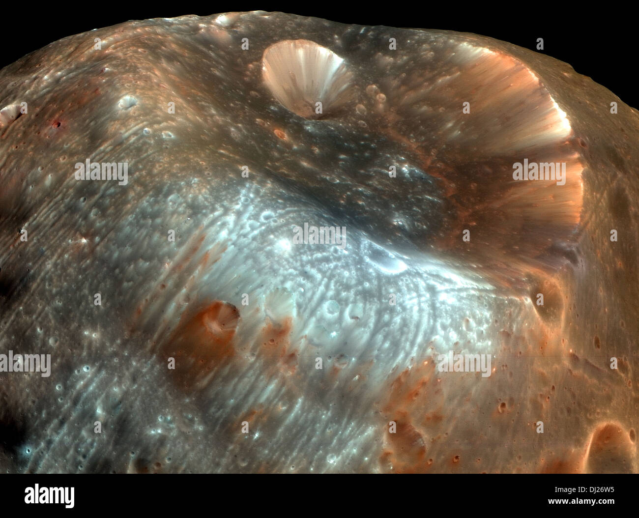 Stickney Crater, the largest crater on the martian moon Phobos. - Stock Image