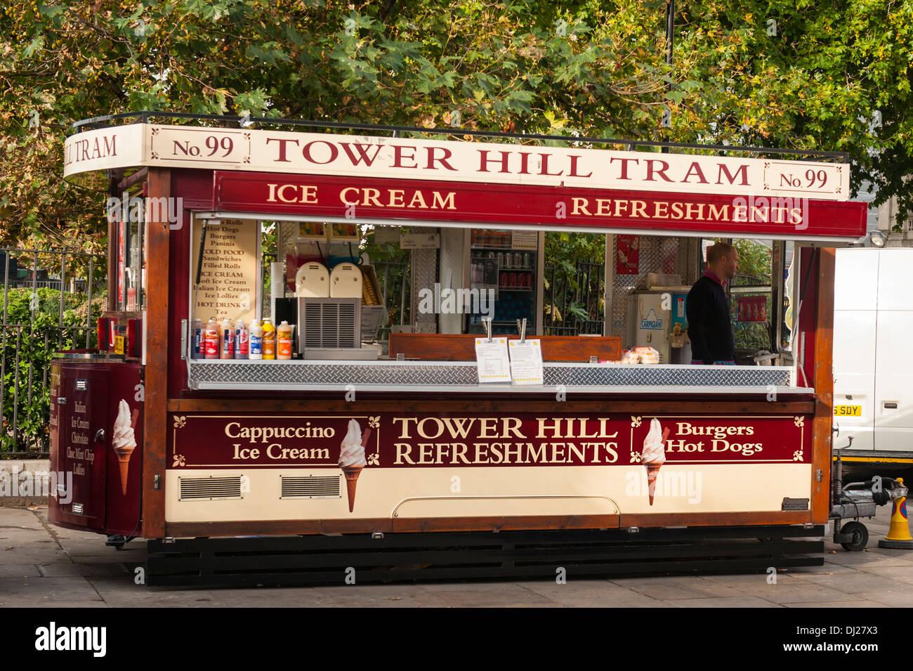 City of London Tower Hill mock Tram no 99 ice cream original creative  refreshments car cart kiosk stall diner trailer Stock Photo