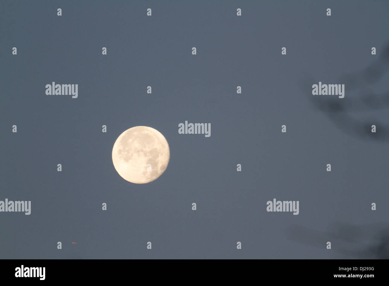 Wimbledon London,UK. 19th November 2013. A full moon appears at dusk over residential houses Credit:  amer ghazzal/Alamy Live News - Stock Image