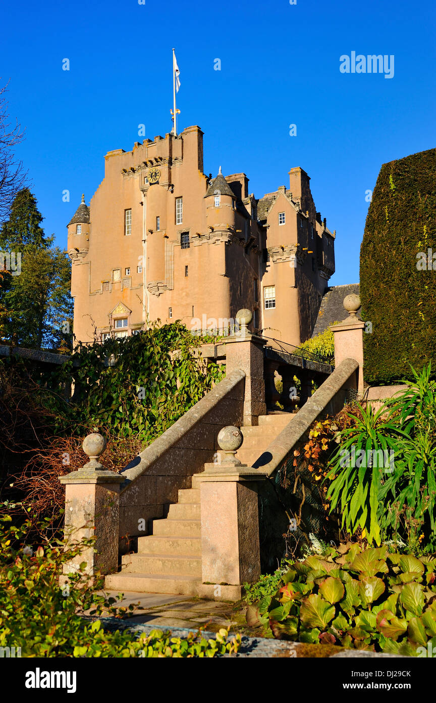 Ornate steps within Crathes Castle Garden near Banchory, Aberdeenshire, Scotland - Stock Image