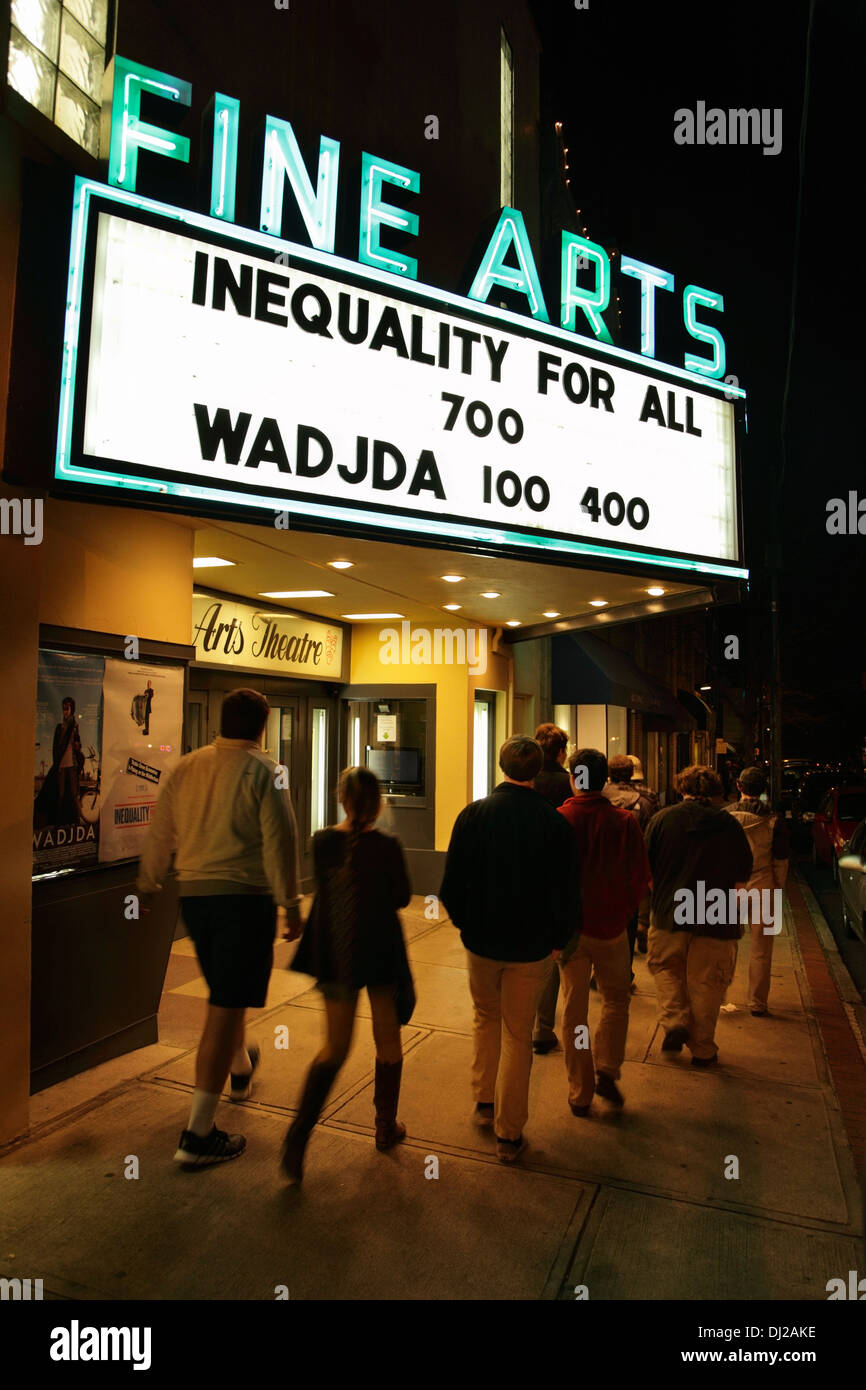 Pedestrians outside Fine Arts Theatre, a cinema featuring art and independent films in downtown Asheville, North Stock Photo