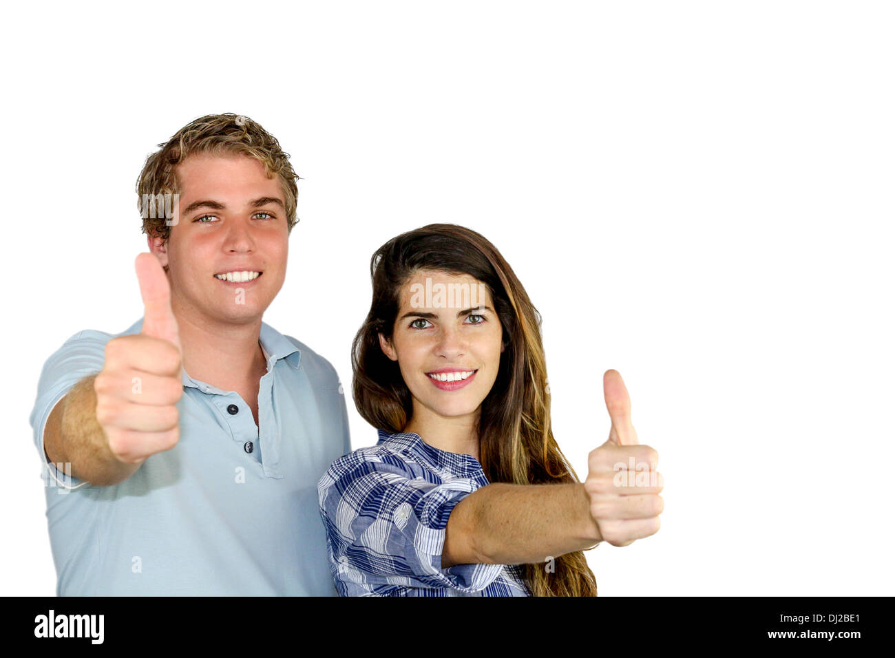 A young man and woman showing victory and positiveness with their fingers - Stock Image